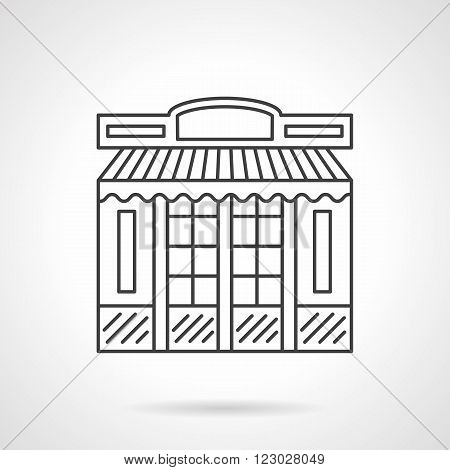 Storefront and showcases. Chocolate store facade, cafe. Shop exterior. Vector icon flat thin line style. Element for web design, business, mobile app.