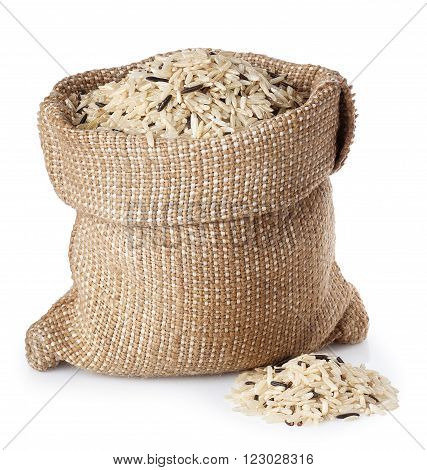 wild and brown rice in sack bagi solated on white background