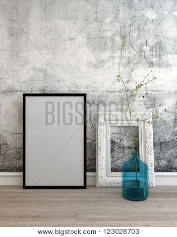 3D background setting of old wall and two empty picture frames with black border on wooden floor next to little tree in large water dispenser