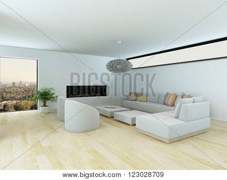 Contemporary living room with a white modular suite and light colored parquet floor in a minimalist design with view window