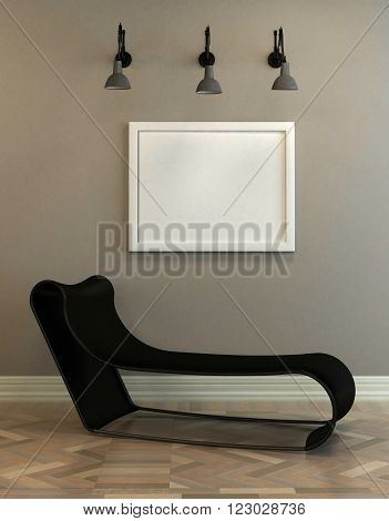 Modern modular black day bed below a blank white picture frame on a wall with a patterned wooden parquet floor and ceiling lights. 3d Rendering.