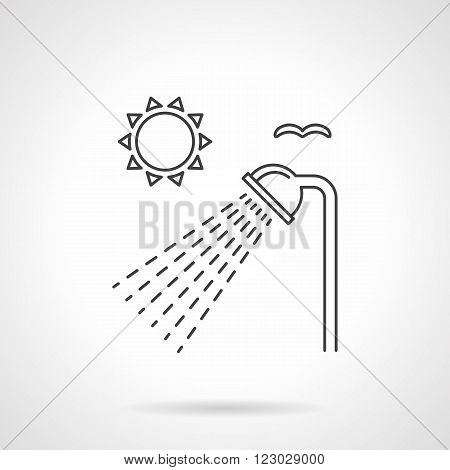 Sun and shower head with drops. Outdoors shower. Hiking and camping services. Vector icon flat thin line style. Element for web design, business, mobile app.