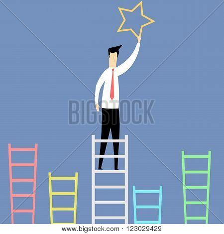 Illustration of cartoon man on ladder catching star