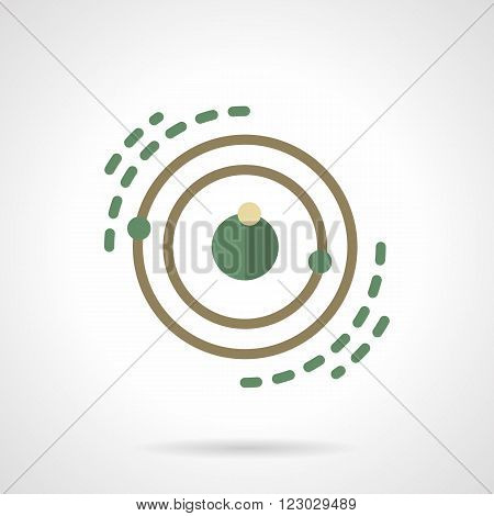 Model of star system or planet with satellites. Space research. Astronomy. Science and education. Vector icon flat color style. Web design element for site, mobile and business.