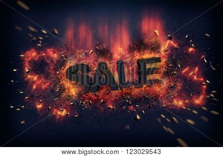 Burning orange fiery flames and explosive sparks on a dark background with the word - SALE - in black text for a dramatic poster design