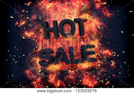 Burning orange fiery flames and explosive sparks on a dark background with the word - HOT SALE - in black text for a dramatic poster design