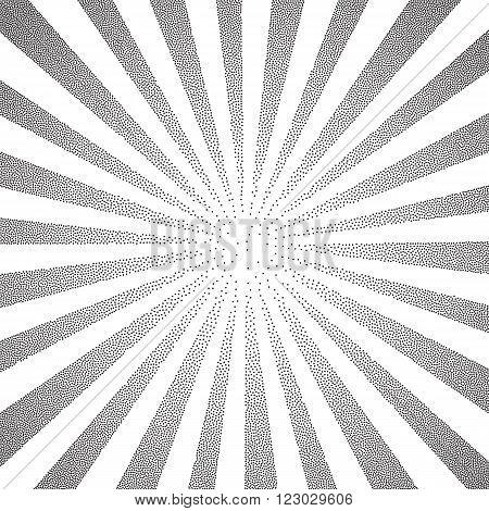 Sun Sunburst Pattern made of stipples. Vector illustration