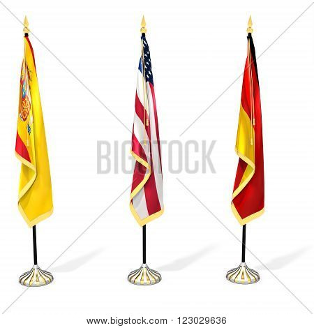 3D Flag Collection With Pole
