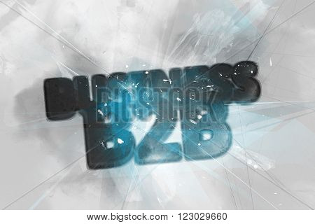 Exploding Business B2B logo rendered in 3D with sparkles, intersecting lines and painterly effect in background