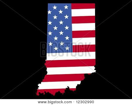 Map of the State of Indiana and American flag JPG