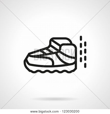 Single sneaker. Sports footwear. Accessories and outfit for fitness, jogging, workout. Vector icon simple black line style. Single design element for website, business.