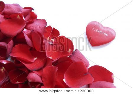 Frame Of Red Petals And Heart