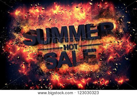 Artistic dramatic poster for - HOT SUMMER SALE - with black text surrounded by fiery orange flames and sparks over a black background