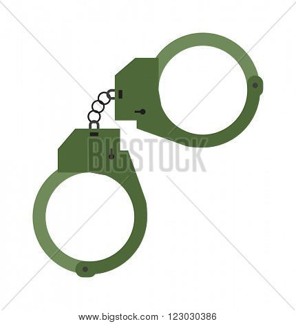 Metal police handcuffs flat vector illustration isolated on white background. Handcuffs justice lock police symbol. Icon of prison control. Security handcuffs police symbol.
