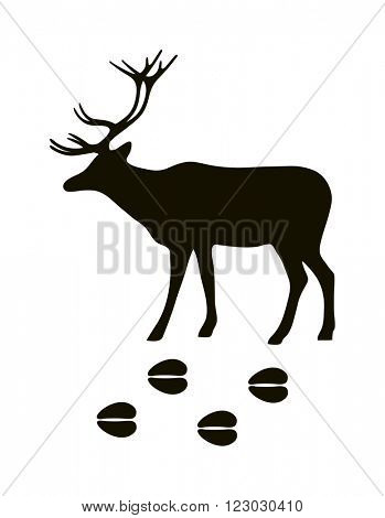Wild deer animal black silhouette and wild animal predator symbol. Predator silhouette. Wild life black animal silhouette. Black silhouette wild animal zoo vector.