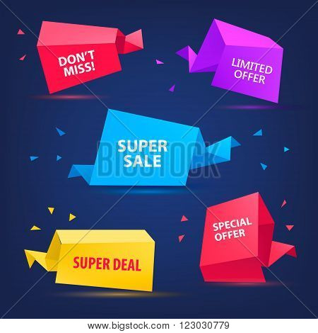 Vector set of colorful sale banners, bubbles, 3d paper origami icons. Super Sale paper banner. Sale background. Sale tag. Sale poster. Sale vector. Super Sale and special offer.