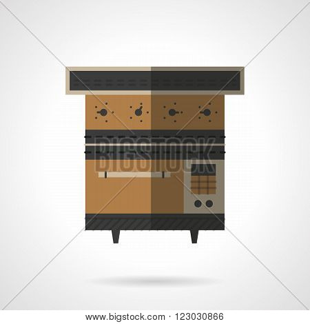 Brown stove or oven for bakery. Kitchen equipment. Restaurant appliances. Vector icon flat color style. Web design element for site, mobile and business.