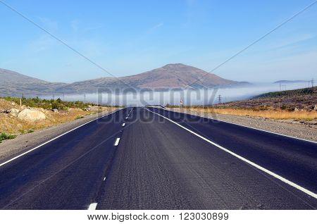 Road to the mountain Nittis on the Kola Peninsula