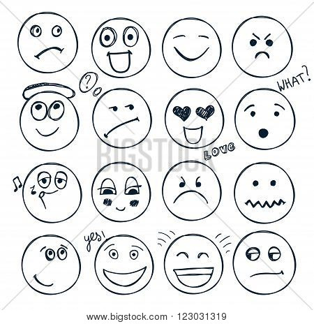 vector set of hand drawn faces, moods isolated. Doodle, collection