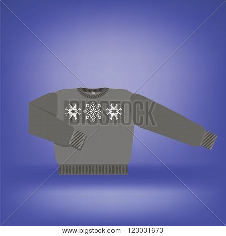 Gray Wool Sweater Isolated on Soft Blue Background