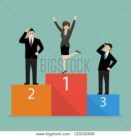 Business woman celebrates on winning podium next to her business rivals. Business concept
