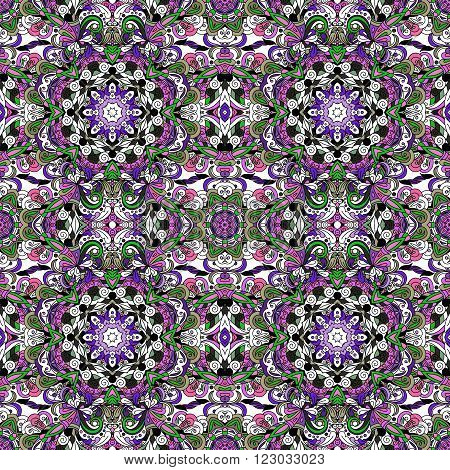 Rich with saturated colors beautiful medieval ornament. Seamless floral pattern of circular floral elements. Vector design of mandalas. Template for textiles shawl bed linen carpets cushions.