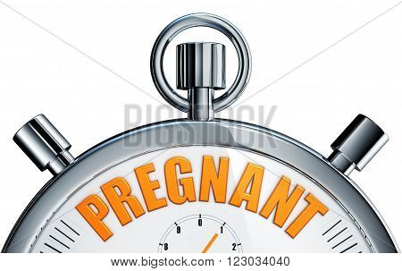 3d rendering of a stopwatch with a pregnant icon