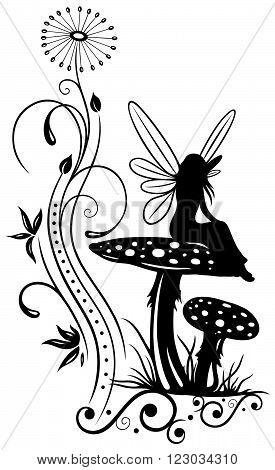 Fairy on a mushroom, filigree fantasy flowers.