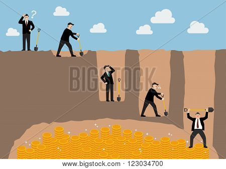 Step of businessman digging a ground to find treasure infographic