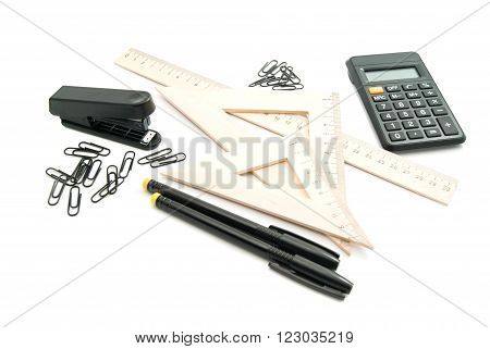 Wooden Ruler, Calculator And Other Stationery