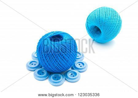 Plastic Blue Buttons And Thread