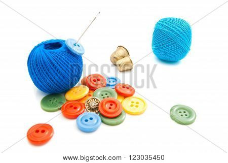 Different Buttons, Thimbles And Thread