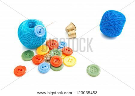 Different Buttons, Thimble And Thread