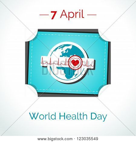 Vector poster for 7 April World Health Day. The Earth in blue and white colors in flat style. Linear tear-off calendar with globe and normal cardiogram as concept for World Health Day. Healthy planet.