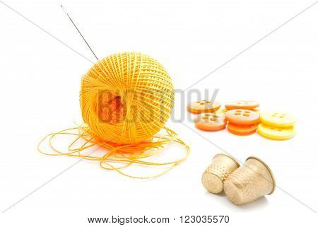 Spool Of Thread, Thimbles And Orange Buttons