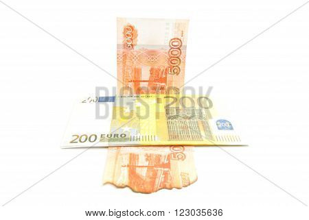Burnt Rubles Banknotes And Euros