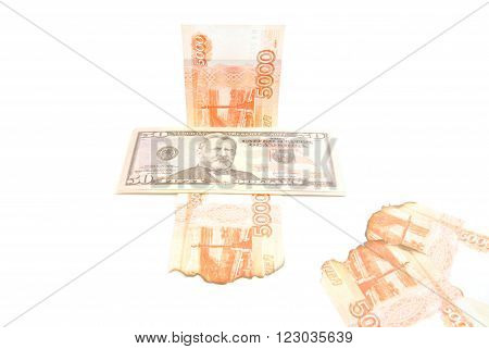 Burnt Rubles And Dollars Banknotes