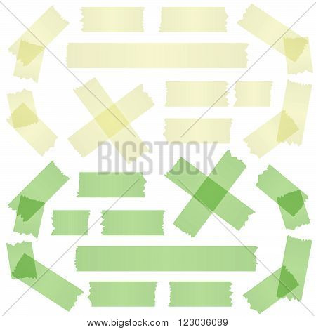 yellow and green colored adhesive tape collection