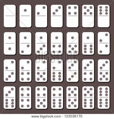 Domino full set. Flat slyle. Board game