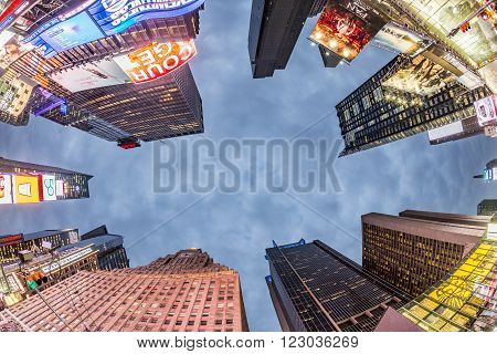 NEW YORK USA - OCT 22 2015: Times Square featured with Broadway Theaters and huge number of LED signs is a symbol of New York City and the United States.
