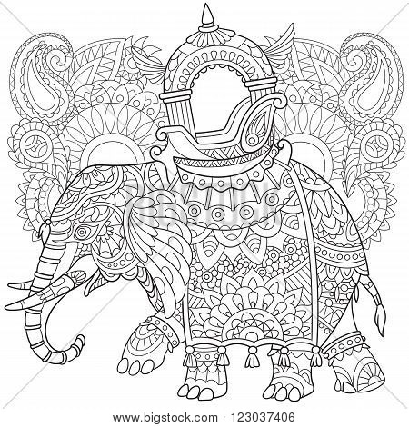 Zentangle stylized cartoon elephant with paisley and mehndi symbols. Sketch for adult antistress coloring page. Hand drawn doodle zentangle floral design elements for coloring book.