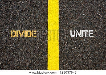 Antonym Concept Of Divide Versus Unite