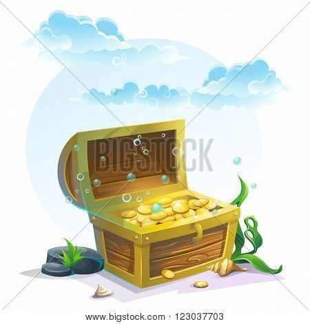 Chest of gold in the sand under the blue clouds - vector illustration for design banners flyers textures backgrounds