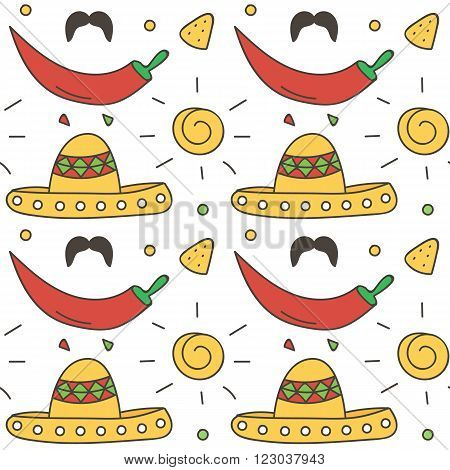 Mexican seamless pattern background with sun, sombrero, chili pepper, nachos. Cinco de Mayo background.