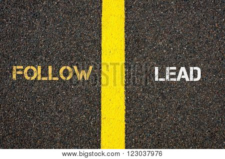 Antonym Concept Of Follow Versus Lead