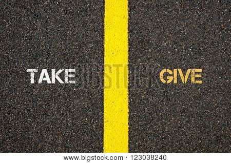 Antonym Concept Of Take Versus Give