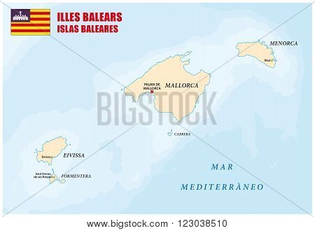 map of the Spanish archipelago of the balearen with flag