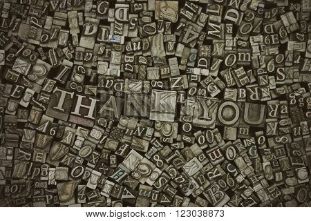 Close Up Of Typeset Letters With The Words Thank You