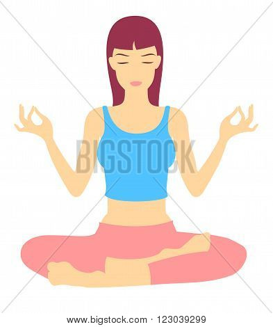 Vector Illustration of a young woman in Yoga Exercise in Trance Position.