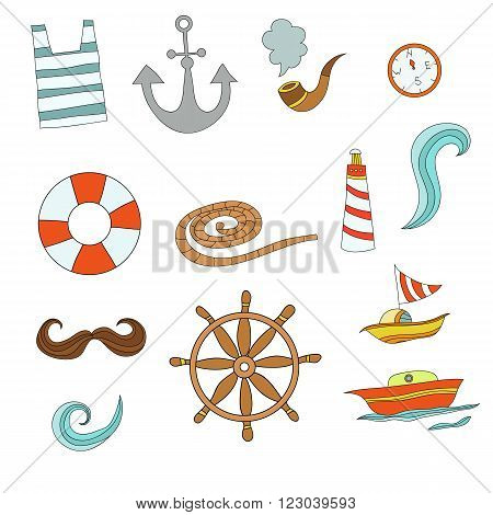 Vector set of captain items. Funny colorful cartoon collection with captain stuff
